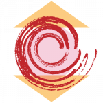 stylized joint pain - pink circle between two peach, mirrored triangles, with a red, painterly swirl on top