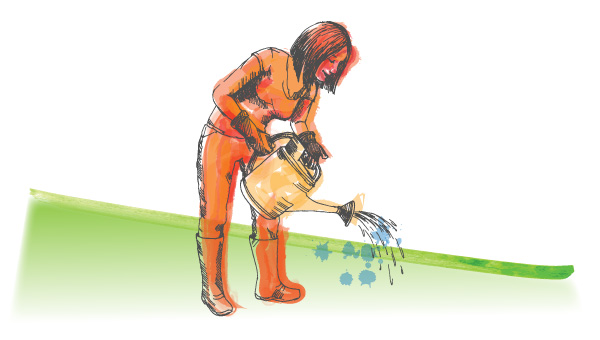 illustrated woman poring from a watering can