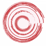 stylized swelling - pale pink circle with radiating/concentric red circles on top
