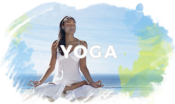 Yoga - African American woman in lotus position on a pier