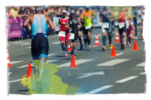 Runners in a marathon, on the course