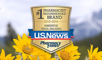 Number 1 Pharmacist Recommended Brand 2013-2014 for Homeopathic Topical Analgesics from US News & World Report and Pharmacy Times