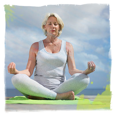 senior woman in lotus position