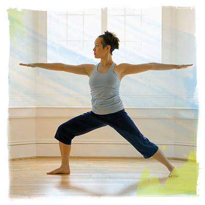 asian woman in warrior pose