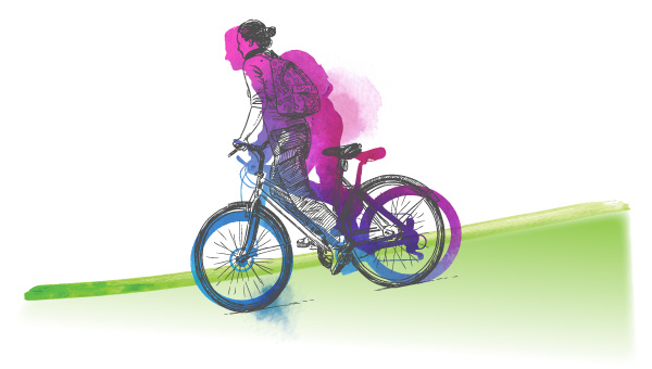 illustrated watercolor of girl biking with backpack. purple and blue figure on green ground shaped like hill