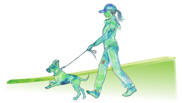 illustrated woman walking dog