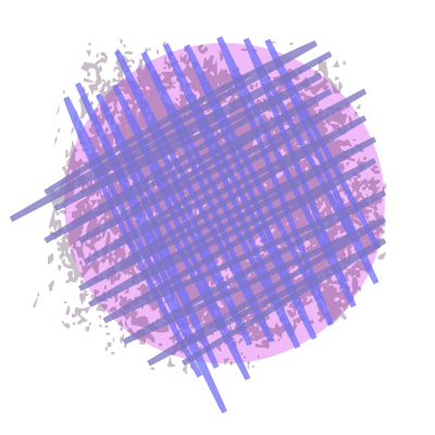 stylized bruise - lavendar circle with distressing and purple cross hatch lines on top