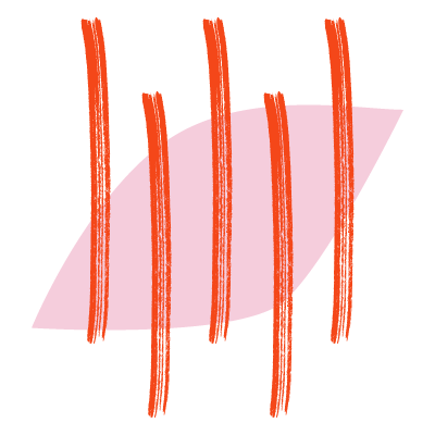 Stylized symbol for muscle pain - pink oval with pointed ends and red lines running vertically through it