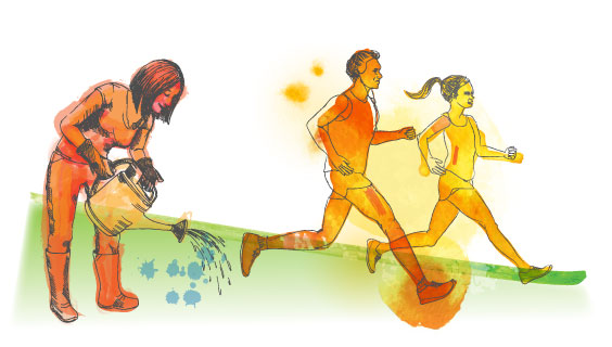 Watercolor drawing of woman watering garden and couple running