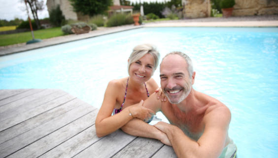 Older couple in pool